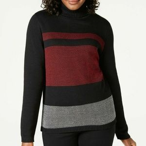 Karen Scott S Red Black Turtle Neck Sweater 6T49